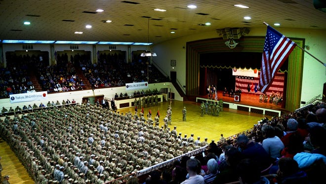 Approximately 500 Soldiers with 28th Infantry Division Headquarters and Headquarters Battalion, Pennsylvania National Guard, were honored in a ceremony Jan. 13 as they prepare to depart for a deployment to the Middle East in support of Operation Spartan Shield (OSS).