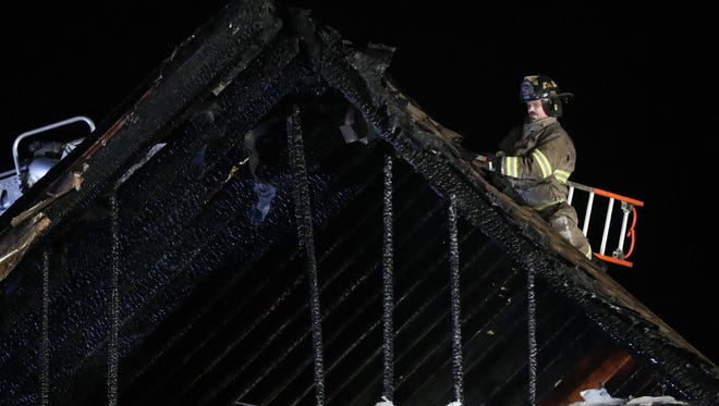 There was extensive damage to the upstairs of a unit at the Gettysburg Place Apartments in Cumberland Township on Saturday night, Feb. 3, 2018.