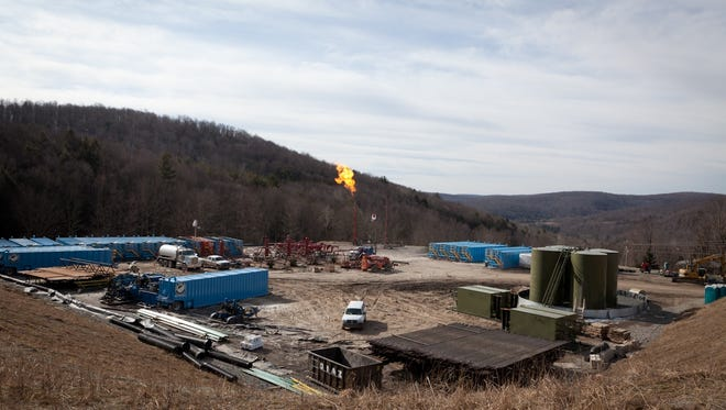 """Gas well development in Susquehanna County in 2012 included """"flaring"""" which burned off impure gas after the well was drilled and fracked, and before it was connected to a pipeline."""
