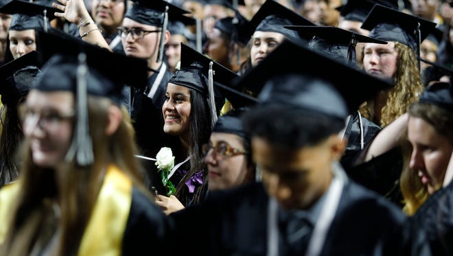 Mariner High School seniors celebrate their graduation ceremony Saturday, May 19, at Suncoast Credit Union Arena in Fort Myers.