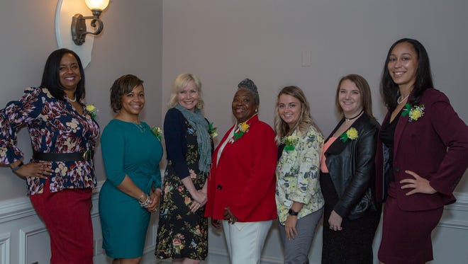 Lauren Love-Wright, Dr. Joni Jefferson, Erica Martinez, Marion Johnson, Hayley Katz, Rachel Thompson and Jazmine Tooles, this year's speakers at the Girls Scouts Heart of New Jersey's (GSHNJ) Young Women of Vision Leadership Breakfast.