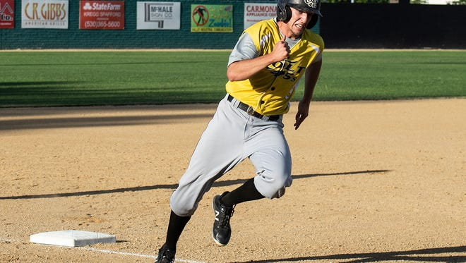 Eric Carlson of the Colt 45s rounds third and heads for the plate in the third inning of Sunday's 11-4 home win against the Solano Mudcats.