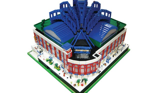 Tim Kaebisch of Milwaukee used 30,000 LEGO blocks to build this model of Miller Park.