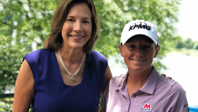 U.S. Chairman and CEO of KPMG Lynne Doughtie poses with LPGA star Stacy Lewis at the 2018 KPMG Women's PGA Championship.