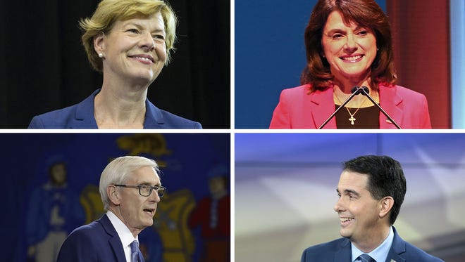Wisconsin midterm candidates for U.S. Senate and Wisconsin Governor (clockwise from top left) Tammy Baldwin (D-Wisconsin), Leah Vukmir (R-Wisconsin), Tony Evers and Scott Walker.