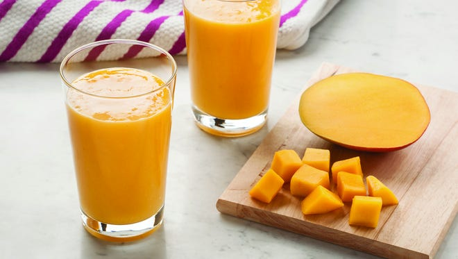 Mangos are superfruits bursting with antioxidants and more than 20 different vitamins and minerals. One cup of mango is 100 calories and a good source of fiber, which aids in digestion and the management of weight, and an excellent source of vitamin A which plays a role in bone growth.