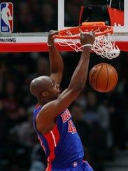 Detroit Pistons forward Anthony Tolliver (43) dunks