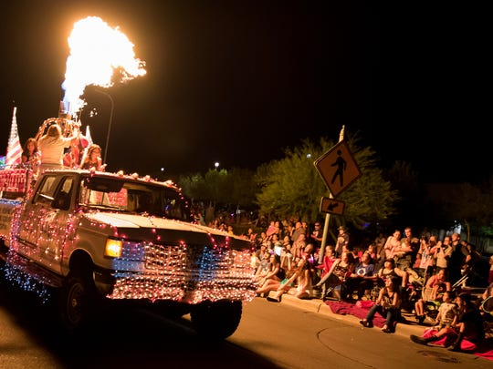 The Mesilla Valley Ascension float illuminates the crowd at the Electric Light Parade on July 3, 2016.
