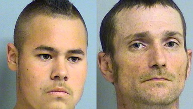This April 8, 2012, file photo provided by the Tulsa Police Department via the Tulsa World shows Jacob England, 19, left, and Alvin Watts, 32.