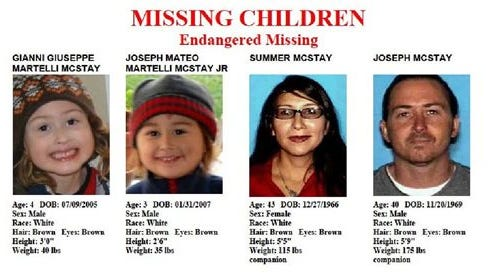 This undated file image provided by the San Diego Police Department shows members of the McStay family whose abandoned SUV was found near the Mexico border near San Diego. Authorities released new information today in the murder investigation of the family of four whose bodies were found in shallow graves late last year.