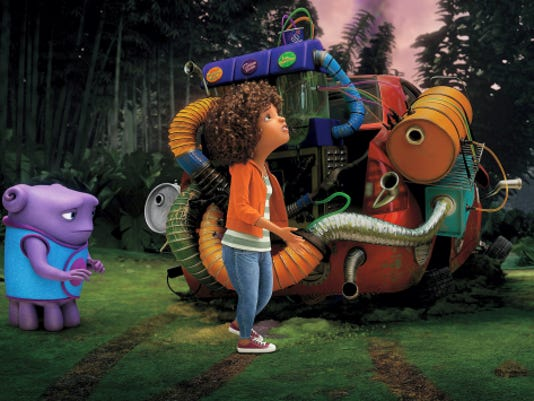 """In this image released by DreamWorks Animation, characters Oh, voiced by Jim Parsons, left, and Tip, voiced by Rihanna appear in a scene from the animated film """"Home."""""""