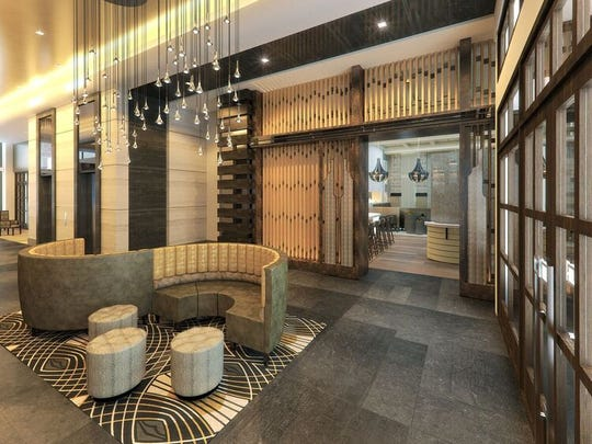 The public area of the new Arras Hotel will feature a clean, modern look.
