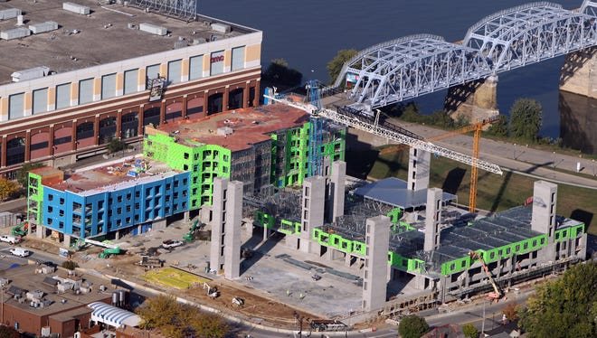 Aqua on the Levee is under construction on the Newport riverfront, just east of the Purple People Bridge.