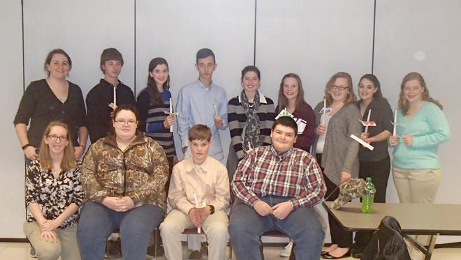 4-H Teen Senate members and leaders are shown here.  Pictured in the bottom row, from left, are: Carolyn McGraw, Michaela Shorb, James Shea, and Wyatt Shorb. Pictured in the top row, from left, are: Samantha Robison, Samuel Shea, Kaitlin Repp, Joshua Orsi, Miriam Shea, Emma Lady, Amanda Hollabaugh, Baillee Crandell, and Jennifer Hollabaugh.