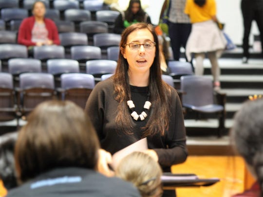 Rebekah Sterlacci, the artist director of Rutgers Children's Choir & Scarlet Singers, leads the rehearsals with chorale, whose members are in fifth to eighth grade.
