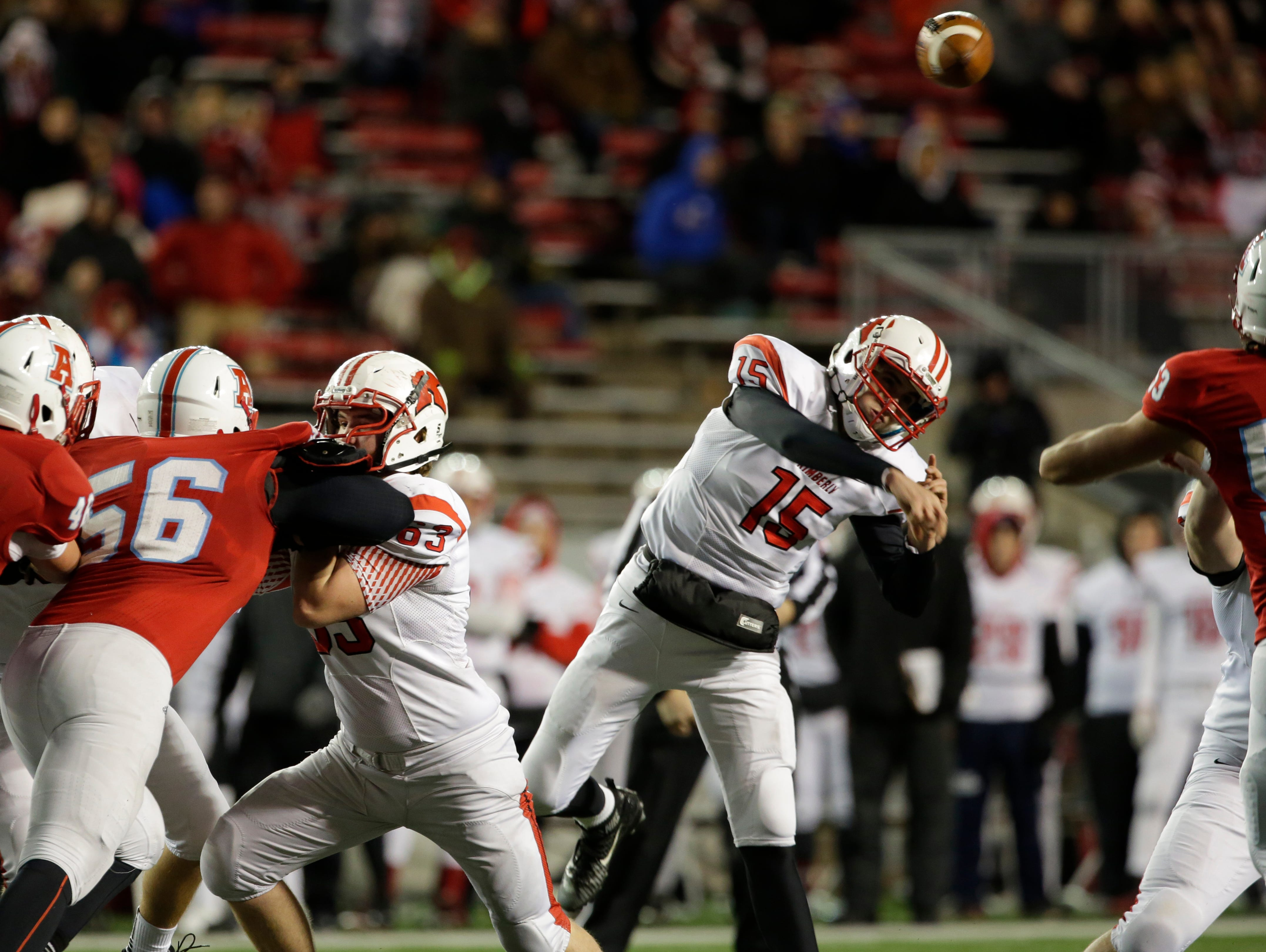 Kimberly's Danny Vanden Boom throws a pass during Friday's WIAA Division 1 state football championship game against Arrowhead at Camp Randall Stadium in Madison.
