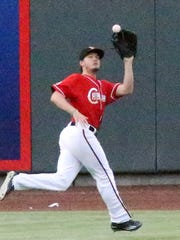 Chihuahuas left fielder Auston Bousfield catches a
