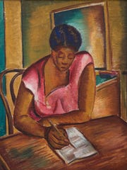 "Malvin Gray Johnson, ""The Letter,"" n.d., oil on fabric."