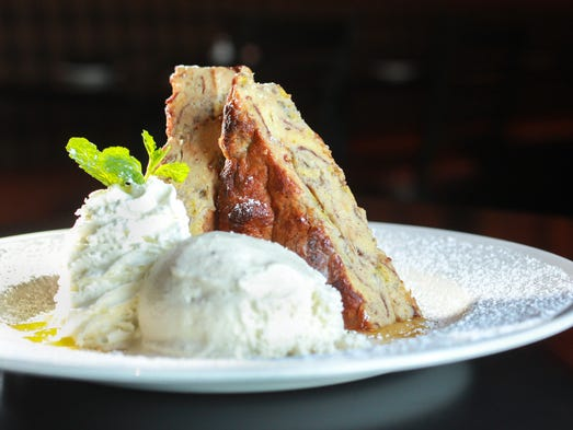 The banana-bread pudding at Matt the Miller's Tavern,11 W. City Center Dr., Carmel, is made with cinnamon rolls, croissants and brioche, which are baked in a creamy banana custard. It's topped with whiskey caramel sauce, whipped cream and vanilla ice cream.