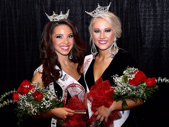 Brenna Wilkins (left) of Union City was named Miss University of Tennessee at Martin 2017, and Laura Ann Higgs of Toone was named Miss Tennessee Soybean Festival 2017, during a combined pageant Sunday at the university's main campus.