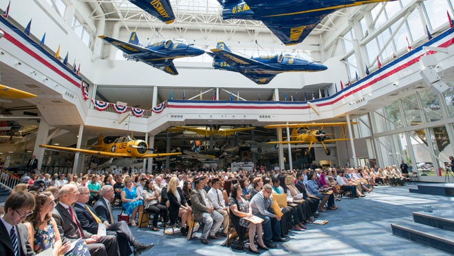 A total of 130 people from 52 countries became United States citizens during the naturalization ceremony at the National Naval Aviation Museum in Pensacola on Friday, July 21, 2017.