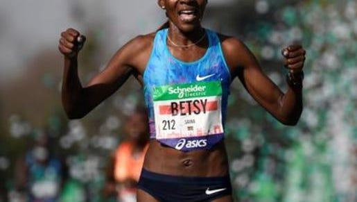 Former Iowa State runner Betsy Saina, after winning the Parish Marathon on Sunday.
