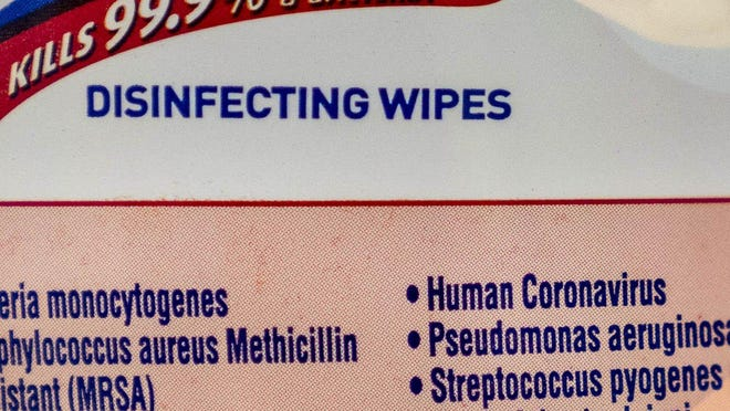 A label on Lysol disinfecting wipes says that their product is 99.9% effective in killing the human coronavirus, in West Palm Beach on March 2, 2020.