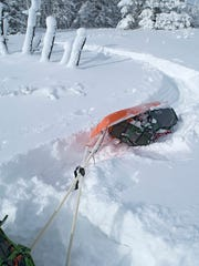 When his sled tips in deep powder, Richard Layne of