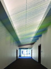 """The Corridor Gallery at Springfield Art Museum with its permanent art work, """"Tilted Sky,"""" was added as part of a 2008 expansion to the museum that included a new entrance."""