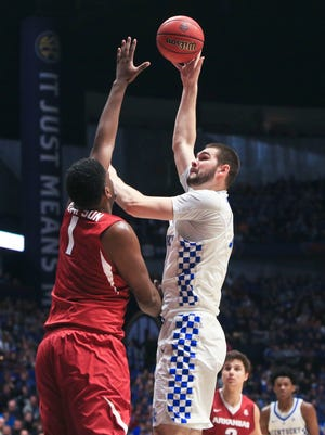 Kentucky's Isaac Humphries goes for two against Arkansas in the SEC Championship game March 12.