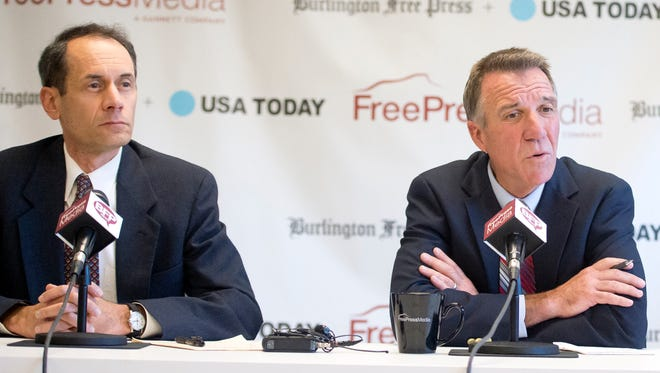 Lieutenant governor candidates, from left, Progressive/Democrat Dean Corren, Republican incumbent Phil Scott and Liberty Union Party's Marina Brown debated at the Burlington Free Press on October 14.
