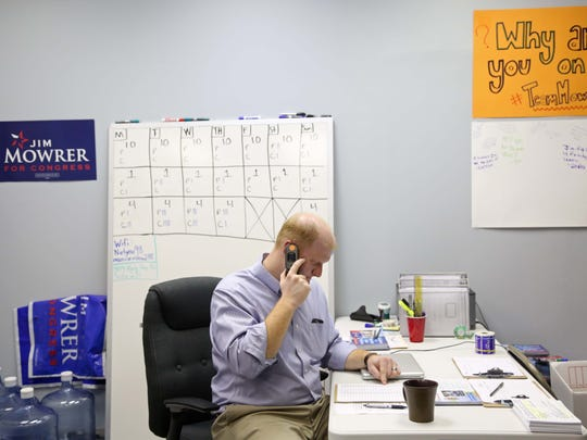 Jim Mowrer, candidate in the democratic primary for U.S. House of Representatives, makes phone calls to voters on Sunday, May 15, 2016, at the Jim Mowrer for Iowa campaign office in Des Moines.