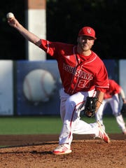 UL's Eric Carter pitches against UNO in an NCAA baseball