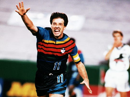 Preki celebrates while playing for the Kansas City