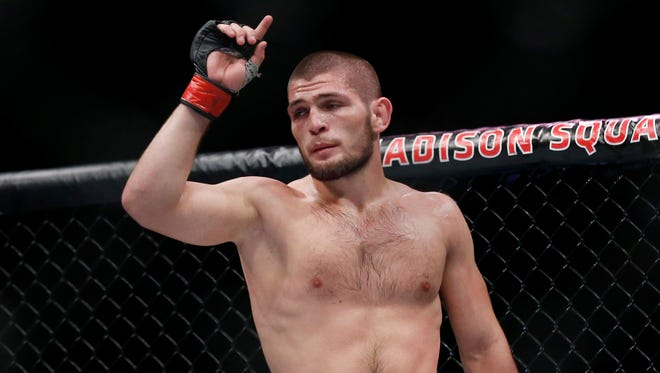 Khabib Nurmagomedov after defeating Michael Johnson during UFC 205 at Madison Square Garden.