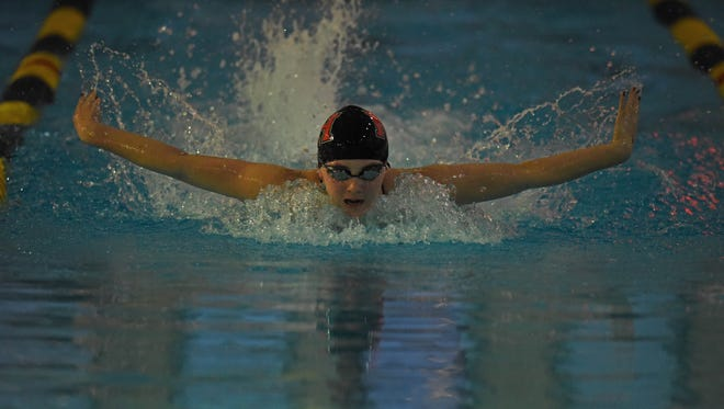Kayla Kerrigan of Northern Highlands swims the 200 IM at the Big North Patriot championship on Thursday. Northern Highlands won the Big North Patriot title in both girls and boys swimming Thursday at Hackensack High School.
