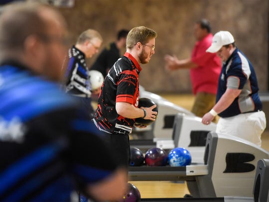 Brady Stearns concentrates while bowling Thursday,