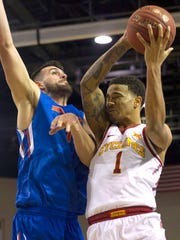 Iowa State Cyclones guard Nick Weiler-Babb (1) goes in for a layup against Boise State Broncos forward Zach Haney (11) during the second half at HTC Center. Iowa State won 75-64.