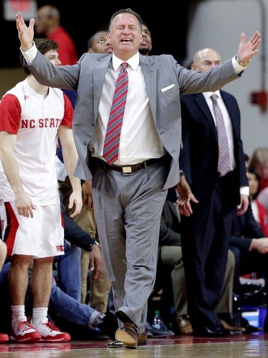 North Carolina State coach Mark Gottfried reacts during the second half of an NCAA college basketball game against Florida State in Raleigh, N.C., Wednesday, Jan. 13, 2016. Florida State won 85-78. (AP Photo/Gerry Broome)