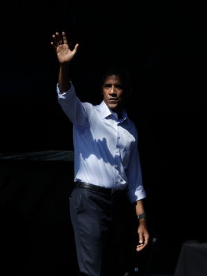 President Barack Obama waves after speaking at the 20th annual Lake Tahoe Summit, Wednesday, Aug. 31, 2016, in Stateline, Nev. Obama spoke about the environment and climate change. In less than two weeks, Obama will leave office with popularity ratings comparable to those of Ronald Reagan and Bill Clinton.