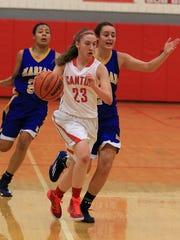Canton's Brianna Finn (No. 23) dribbles down the floor