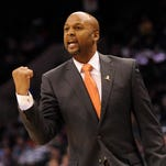 Mar 10, 2014; Charlotte, NC, USA; Denver Nuggets head coach Brian Shaw during the second half of the game against the Charlotte Bobcats at Time Warner Cable Arena. Bobcats win 105-98. Mandatory Credit: Sam Sharpe-USA TODAY Sports
