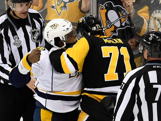 Predators defenseman P.K. Subban fights with Penguins center Evgeni Malkin (71) during the third period of Game 2 of the Stanley Cup Final on Wednesday, May 31, 2017.