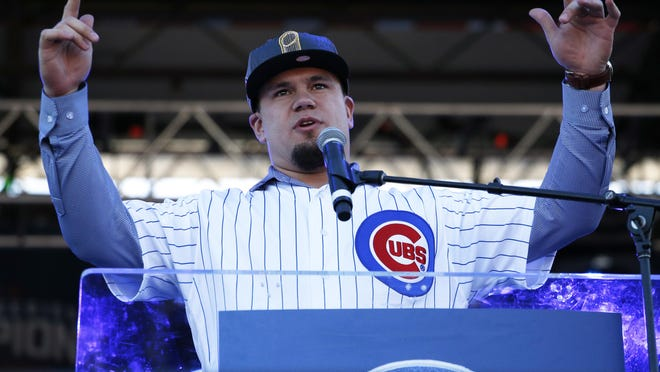 Kyle Schwarber speaks during a celebration honoring the World Series champion Cubs at Grant Park in Chicago, Friday, Nov. 4, 2016.