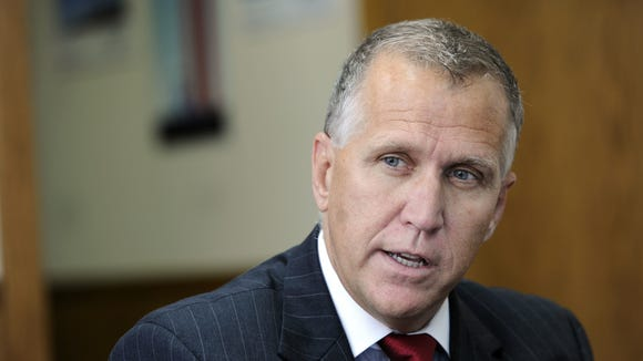 NC House of Representatives speaker Thom Tillis talks with Asheville Citizen-Times reporters and editors Thursday afternoon in Asheville._6/30/11 - Erin Brethauer (ebrethau@citizen-times.com)