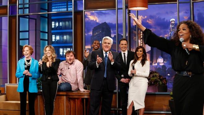 "Carol Burnett, Sheryl Crow, Jack Black, Chris Paul, Jay Leno, Jim Parsons, Kim Kardashian and Oprah Winfrey perform during the ""Farewell Song"" on Leno's final episode of ""The Tonight Show"" on Thursday."