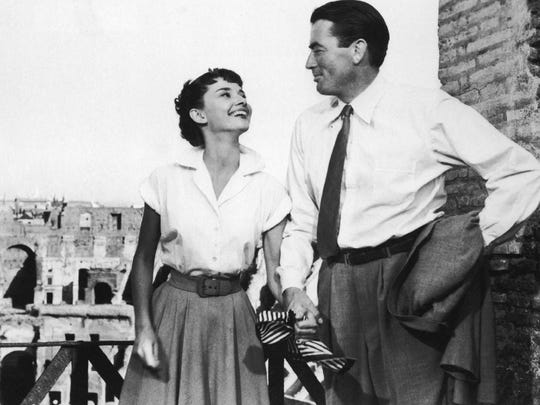 "Audrey Hepburn and Gregory Peck star in 1953's ""Roman Holiday."""