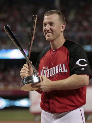 Todd Frazier shows off the Home Run Derby trophy.