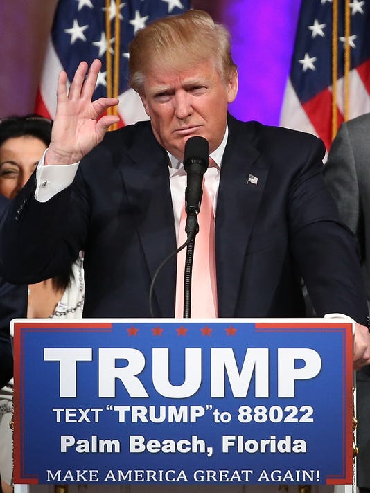 GOP Presidential Candidate Donald Trump Holds Primary Night Press Conference In Florida