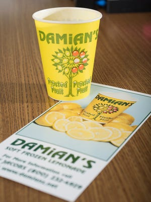 The original package and rack card for Damian's Frozen Lemonade.